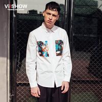 VIISHOW春季新款长袖衬衫 欧美印花衬衫男白衬衣 修身衬衫