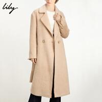 Lily2019冬新款女装简约气质羊驼毛长款系带大翻领毛呢外套1947