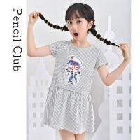 【2件3折价:26.7元】铅笔俱乐部童装2021夏装大童透气连衣裙T恤裙女童针织连衣裙