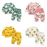 婴儿秋冬装洋气套装3月宝宝加绒睡衣新生儿套