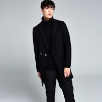 秋冬季男士风衣中长款韩版修身毛呢大衣男装外套男妮子大衣青年潮 黑色