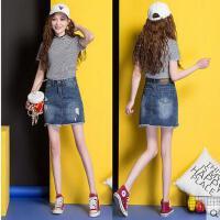 新款破洞牛仔裙半身裙女高腰韩版百搭时尚包臀裙女 大码包臀短裙a字裙支持礼品卡支付