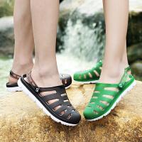 新款亲子洞洞鞋男女儿童防滑耐磨包头果冻塑料凉鞋女沙滩鞋情侣