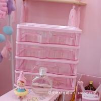 少女心粉色透明桌面抽屉收纳盒子可爱软妹化妆品面膜整理盒首饰盒