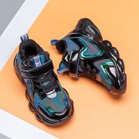 男童鞋子潮流冬季中大童棉鞋保暖亮面儿童运动鞋