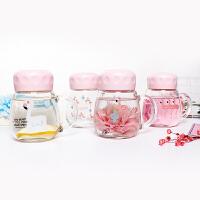 火烈鸟泡花茶的玻璃杯便携可爱带把手水杯韩国女简约透明清新杯子