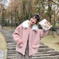 秋冬女装新款韩版宽松加厚毛领短款仿皮毛一体学生夹克外套潮