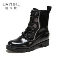 【12.12提前购2件2折】Daphne/达芙妮 休闲大头皮鞋系带酷潮女短靴