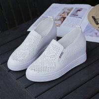 户外内增高小白鞋女时尚一脚蹬女鞋增高显瘦镂空坡跟厚底百搭