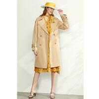 【到手价:280元】Amii极简气质流行风衣外套女2020春新款卡其色宽松收腰中长款外套