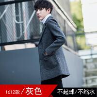 毛呢大衣男韩版修身帅气呢子风衣男中长款毛呢外套呢子男装潮流 12灰色 M