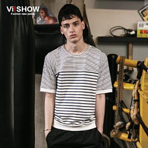 viishow夏装新款短袖T恤 欧美潮牌男士短袖t恤 条纹舒适百搭t