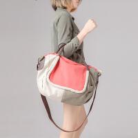七夕礼物时尚帆布包包复古手提包女包大容量旅行包斜挎包韩版潮女式单肩包 西瓜红色