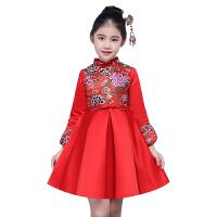 冬季新款加厚长袖儿童中国风礼服女童红色冬装花童礼服裙女童公主裙蓬蓬裙 红色