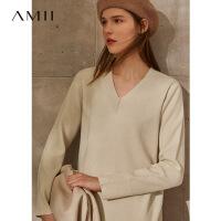 【券后�A估�r:265元】Amii�O��p奢名媛100%�羊毛���B衣裙2020秋冬新款V�I毛衣裙女