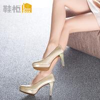 达芙妮旗下鞋柜细跟高跟鞋女鞋 韩国圆头防水台女单鞋