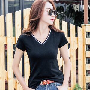 T恤女短袖夏季新款韩版女装V领简约修身显瘦韩范体恤打底衫