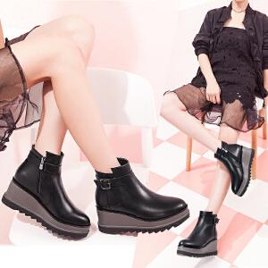 毅雅女鞋秋冬新款骑士靴英伦风短靴女布洛克靴子女坡跟平底女短靴YM6PP6728
