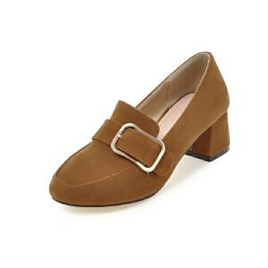 ELEISE美国艾蕾莎新品099-C3-1韩版磨绒中跟女士单鞋