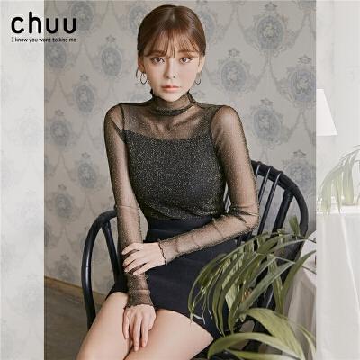 chuu蕾丝衫女长袖2019秋冬新款韩版半高领修身加绒T恤打底衫上衣