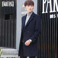 冬季男士羊毛呢大衣中长款韩版潮流修身毛呢风衣青年呢子大衣外套 藏青色 M