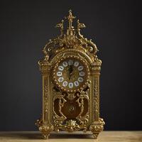 欧式静音客厅金属座钟仿古简约石英钟表大码创意古典饰品坐钟