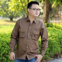加肥加大码男装长袖纯棉衬衫特大码肥佬胖子胖人工作服衬衣