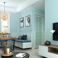 墙纸自粘简约现代3d立体竖条纹墙贴纸温馨卧室客厅宿舍无纺布壁纸 水蓝色〔3米/1.5平〕 纯色系 大