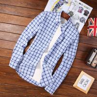 2018春夏男衬衫韩版男士长袖衬衫青年修身格子衬衫男