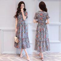 夏季新款韩版加肥加大显瘦胖mm雪纺连衣裙大号波西米亚长裙1878 图片色