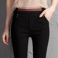 黑色松紧腰女裤秋冬季外穿打底裤新款显瘦紧身小脚铅笔长裤子 黑色 长裤