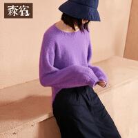 【尾品价74】森宿P尤克里里秋装新款文艺侧开衩前短后长柔软套头毛衣女