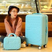 可爱行李箱女万向轮子母箱拉杆箱卡通儿童旅行箱22寸28寸 顶配蓝色/子母箱 28寸顶配大轮