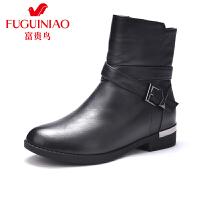 富贵鸟女鞋 秋冬新款中跟短靴女靴马丁靴女英伦风