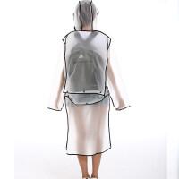 {夏季贱卖}时尚旅行透明长款身雨衣男外套女户外防水衣服式女雨披可爱 黑色背包款 M