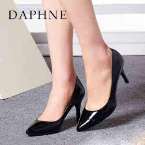 达芙妮春季女鞋 细高跟尖头PU皮浅口单鞋1015101062