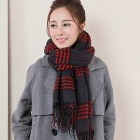 披肩格子围巾 女加厚秋冬季女保暖百搭韩版双面仿羊绒冬天长款两用围巾