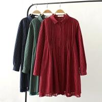 大码女装胖mm秋装修身显瘦中长裙新款文艺气质棉麻长袖连衣裙
