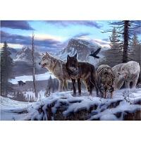雪狼 雪地狼群高清油画1000片木质拼图1500智力玩具