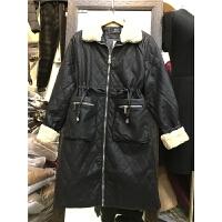 G1女冬新款加厚 宽松大码菱形格 中长款PU皮棉衣外套1.25