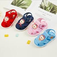 宝宝凉鞋夏0-1-2岁男女婴儿布鞋软底叫叫鞋学步鞋