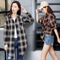 单排多扣POLO领长袖中长款直筒2018年春季时尚韩版百搭格子衬衫