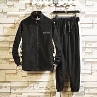 春秋季新款男士夹克休闲运动棒球服外套男一套搭配帅气两件套装