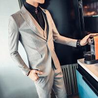 17秋冬时尚新品男士修身西服暗条纹单西装简约款绅士韩版礼服