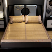 伊迪梦家纺 5.0对节夏凉竹席子三件套 高密编织竹青丝可折叠碳化双面席1.5/1.8m米床AN812