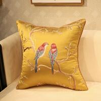 新中式抱枕刺绣花鸟古典沙发靠垫套床头软包办公室腰靠背含芯