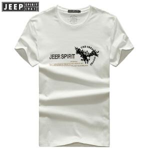 JEEP吉普短袖t恤男夏装薄款T恤半袖印花男士夏天衣服男装圆领体恤打底衫