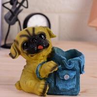 小饰品摆件小狗笔筒创意桌面收纳盒可爱男女学生礼品书桌办公装饰