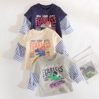 男童t恤长袖春装宝宝上衣纯棉儿童恐龙打底衫假两件