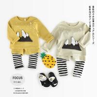 AB2959-春款新品男女童纯棉火山条纹假圆领运动套装
